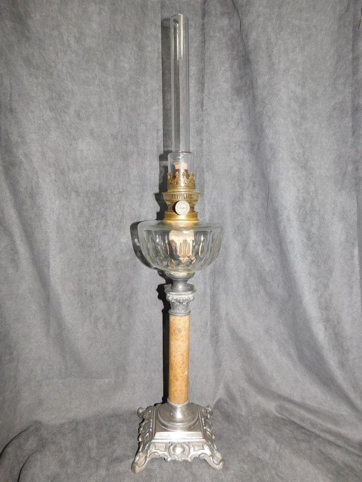 GRANDE LAMPE A PETROLE ANCIENNE BEC ROND PARISIEN J.R. COLONNE ASPECT MARBRE