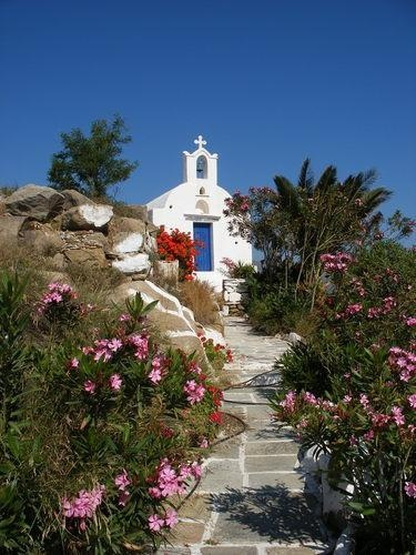 Hilltop chapel on Ios island, Greece