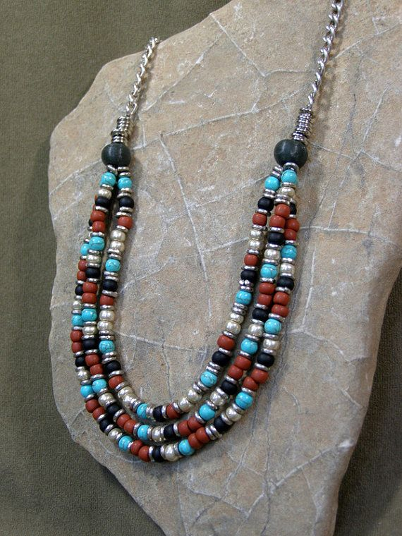 Womens Sterling Silver Necklace  Multi Strand Beaded Necklace  by StoneWearDesigns