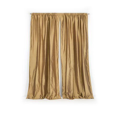 loring brown gold 50 x 108inch thai silk curtain single panel