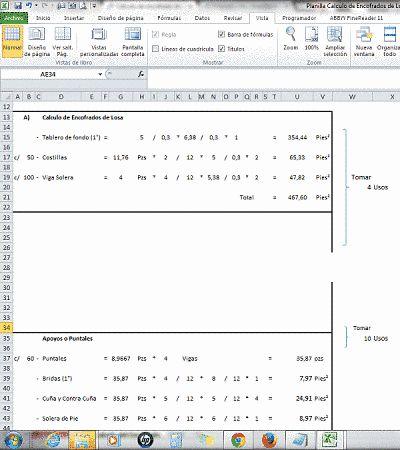 Cálculo de encofrado de Madera en losas http://ht.ly/F4eTe #Isoluciones #PlanillasExcel #SoftWare