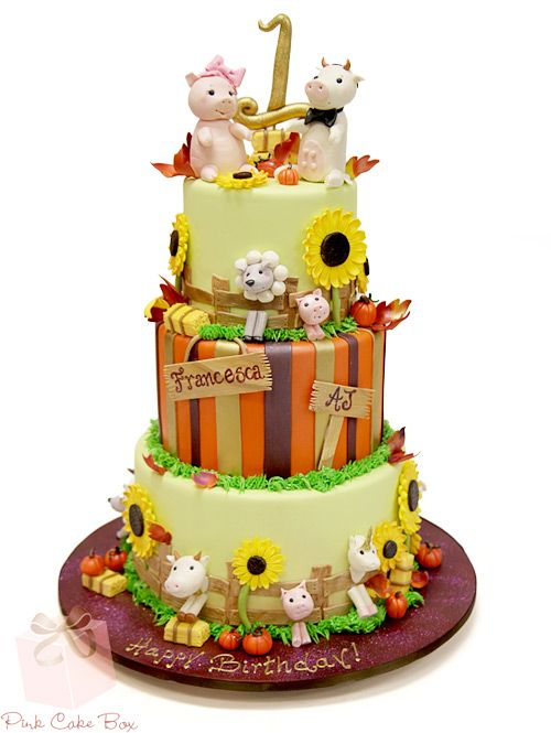 Twin's Farm Animal First Birthday Cake | http://blog.pinkcakebox.com/twins-farm-animal-first-birthday-cake-2013-10-12.htm