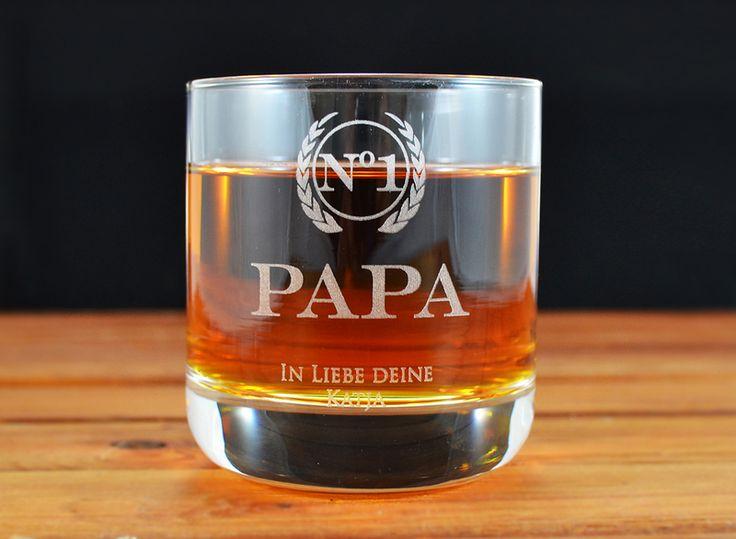 Geschenke für Männer - Vaters Whisky Glas mit Gravur 2er Set - ein Designerstück von ZeichenderErinnerung bei DaWanda