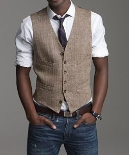 casual groom attire. vest and jeans. I like the idea of a wedding being casual... with dark brown shoes... perfect! @yoliiie55