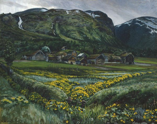 Nikolai Astrup Art Print featuring the painting Saturday Night And Buttercups by Nikolai Astrup