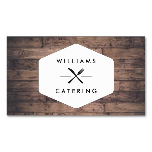 160 best business cards for catering companies chefs and rustic distressed wood fork knife intersect logo business card reheart Choice Image