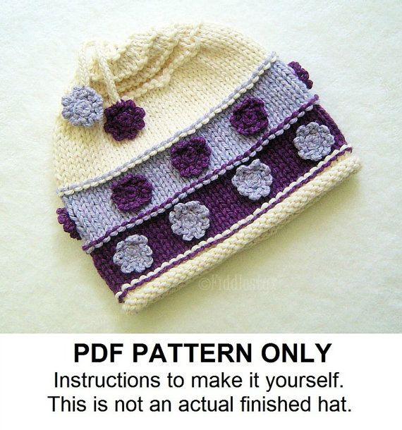 Knitting Pattern – Girl's Hat Pattern – the VIOLET Hat (Newborn, Baby, Toddler, Child & Adult sizes incl'd)