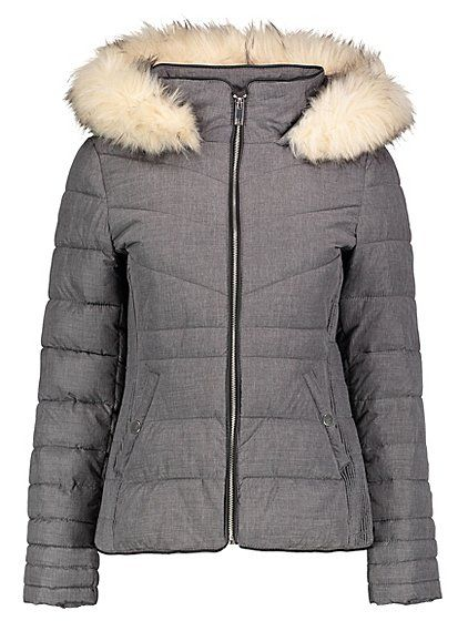 Be prepared for wet and wintery days with this short padded coat in a shower resistant finish. The versatile hue, fitted design and a contrast faux fur trim ...