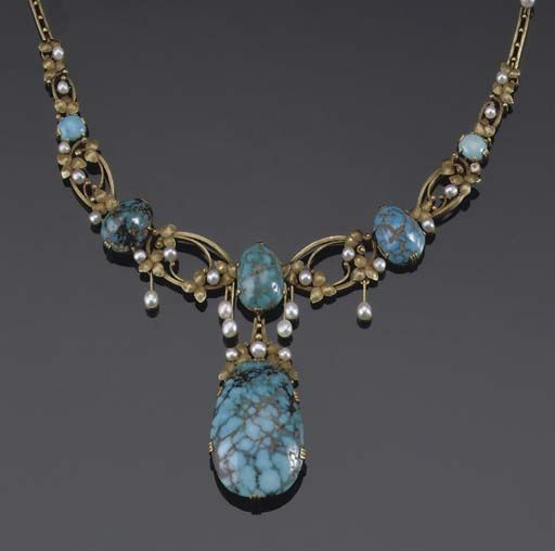 AN ART NOUVEAU TURQUOISE NECKLACE. Composed of openwork foliate links set with small pearls divided by cabochon turquoise sections, circa 1900