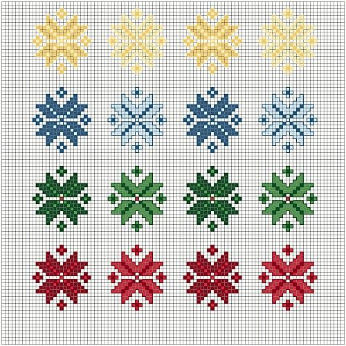 Little Christmas stars to cross stitch -- for gifts, towel borders, gift tags.... free chart from Blog di Gloriol