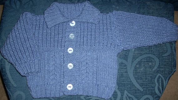 Denim colored Baby Jacket with by TheKnittingNannieGB on Etsy