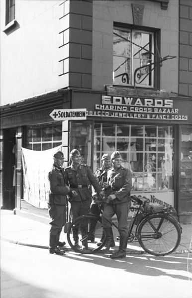 German soldiers in Jersey. The Channel Islands were the only part of the British Isles to be occupied during the war and in 1942-43 more than 2,000 residents were deported to Germany.