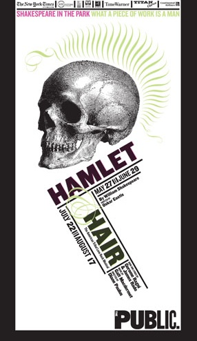 "Year: Unknown Subject: The iconic skull from Hamlet. Designer: Paula Scher It was at this moment that I realized that Scher specializes in making posters for theater groups to advertise their productions. What a better way to advertise Hamlet than to use the skull used for the line ""To be, or not to be? That is the question."" The skull, and the line, both click in peoples' minds."