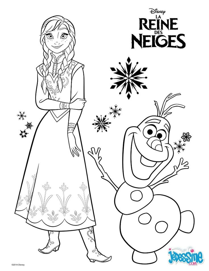 coloriage la reine des neiges imprimer | Coloriage : La reine des neiges - Anna et Olaf