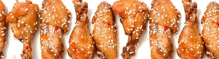 Chicken drumsticks and crispy tofu fries