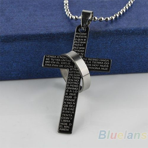 Men Stainless Steel Prayer Cross Pendant Ball Chain Punk Necklace Jewelry