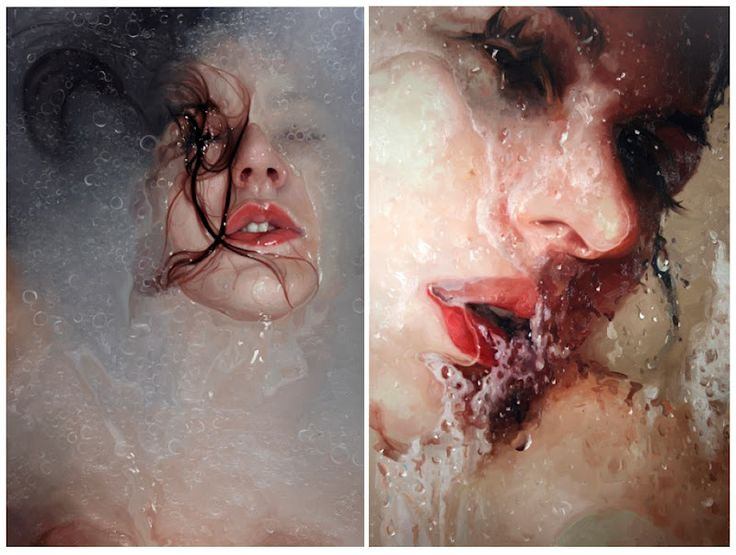 hyper-realistic oil painting by New York based artist Alyssa Monks, who uses filters such as glass, vinyl, water, and steam to distort her subjects.