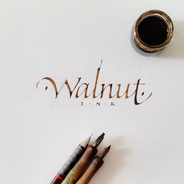 'Walnut Ink' italic calligraphy design with Brause 3.00 and 0.75 mm Nibs.