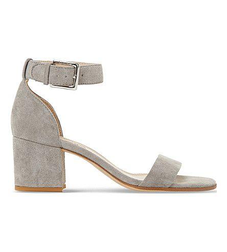 f6ccde1646 DUNE Jaygo Two-Part Suede Block-Heel Sandals. #dune #shoes #sandals | Dune  | Grey block heels, Block heels, Mid heel sandals