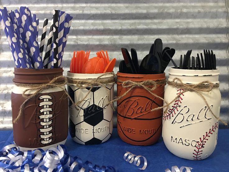 Ball Mason Jar, Set of 4, Silverware Caddy, Football, Baseball, Soccer Ball, Basketball, Game Day Party, Man Cave Gift, Patio Caddy, BBQ by ItWorks4Me on Etsy