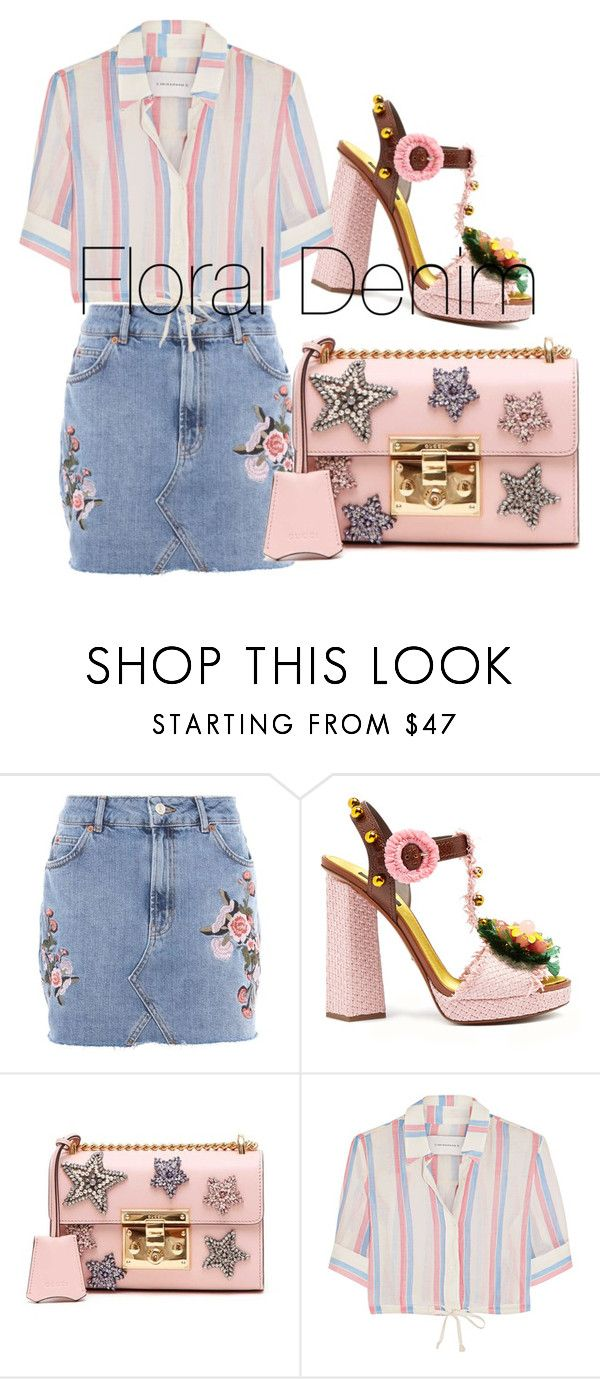 """""""Floral denim"""" by chloeathome on Polyvore featuring Topshop, Dolce&Gabbana, Gucci and Solid & Striped"""
