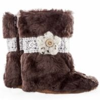 Brown Fur Lace & Flower boot