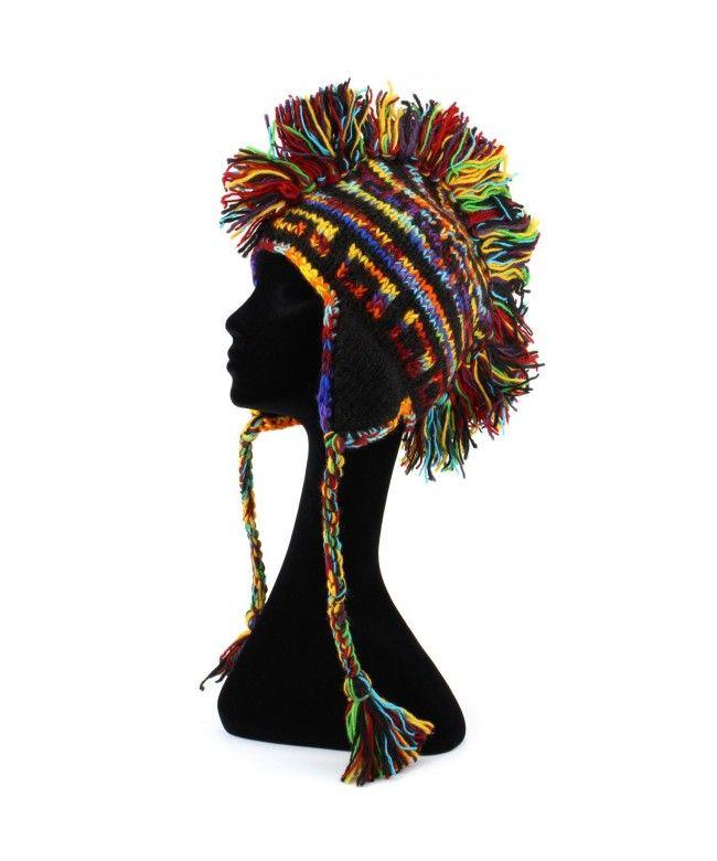 LOUDelephant 'Punk' wool knit Mohawk hat - Black & Rainbow Space Dye