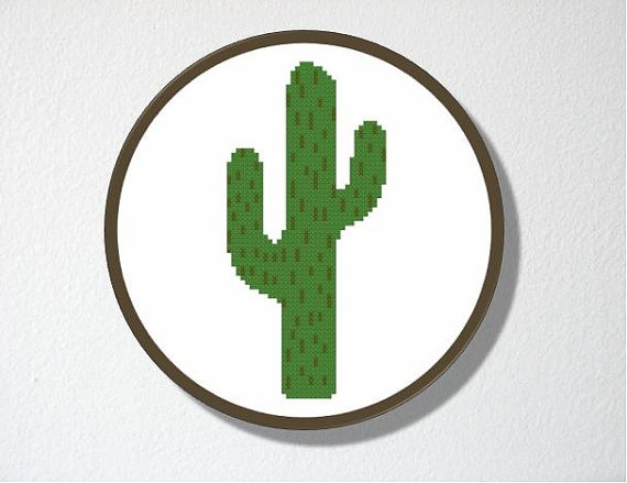 Counted Cactus Cross-Stitch Pattern for beginners by CharlotteAlexander