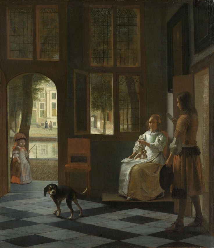 Pieter de Hooch | Man Handing a Letter to a Woman in the Entrance Hall of a House, Pieter de Hooch, 1670 | Het aanreiken van een brief in een voorhuis. In een vertrek bij het raam zit een jonge vrouw met een hondje op schoot. Rechts nadert een jonge man met een brief in de hand. Links staat een hond en zicht door de openstaande deur naar buiten, waar op straat aan een gracht (Kloveniersburgwal?), een meisje met een zweepje speelt.