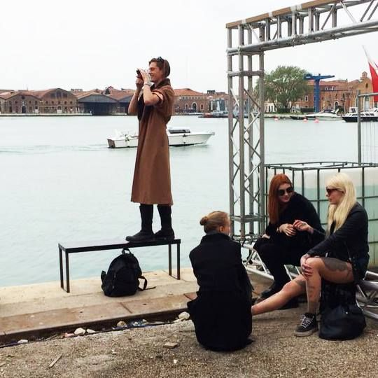 Backstage on the water at #dieselvenice