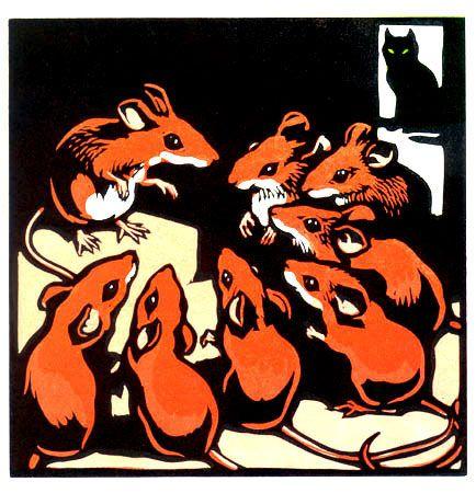 Animalarium: Sunday Safari - Nice Mice linocut by Christopher Wormell