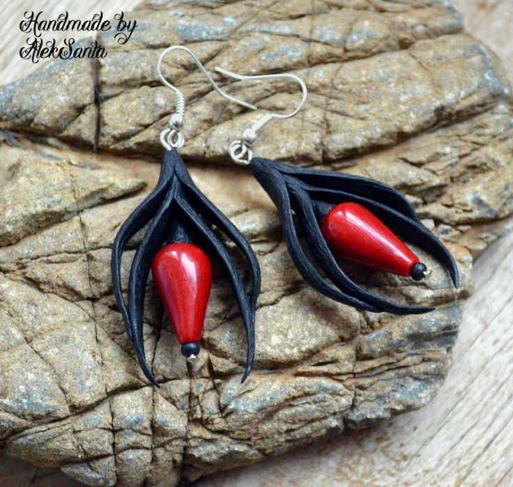 Red black earrings Long dangle earrings Polymer clay jewelry for women Gift for her Stylish statement jewelry Unique unusual earrings by HandmadeByAleksanta on Etsy