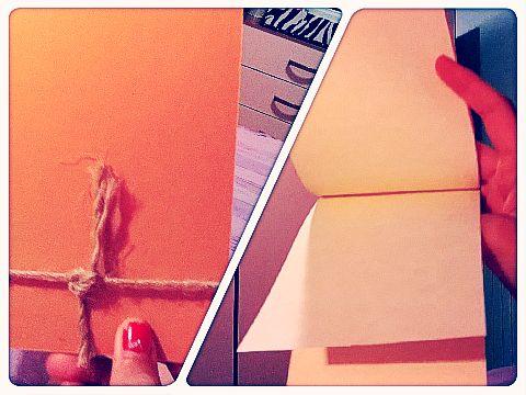 quadernino verticale  con spago e fogli in carta pergamenata