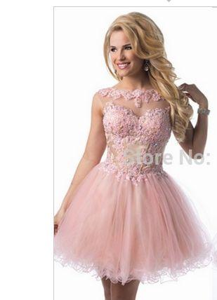 Sexy Pink Korta Balklänningar 2015 High Neck En linje Lace Evening Party Aftonklänningar