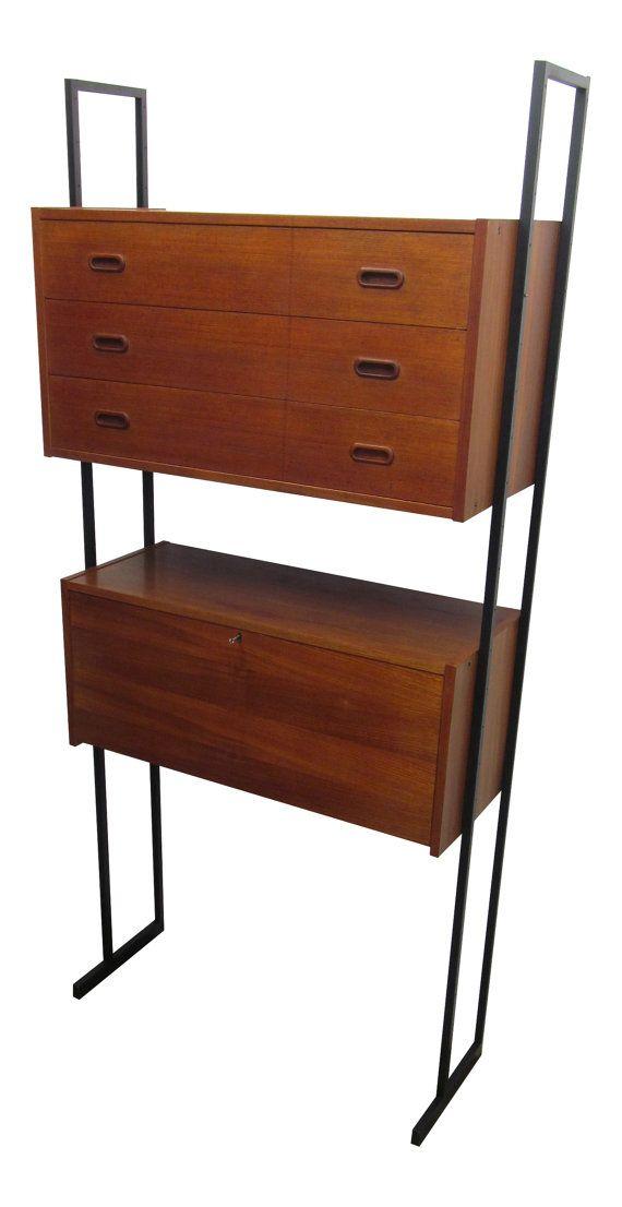 plus ship mid century teak danish 1960u0027s modular free standing wall unit bookcase desk