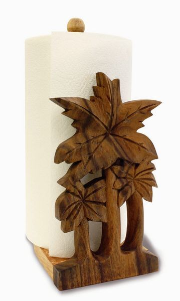 Palm Tree Theme Carved Wood Paper Towel Holder - 94121000