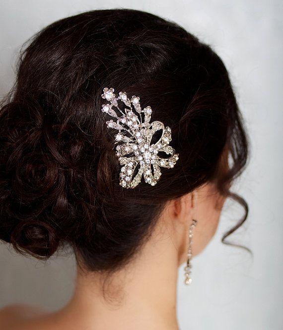 Bridal Hair Comb Rhinestone Hair Brooch Wedding par GildedShadows, $27.95