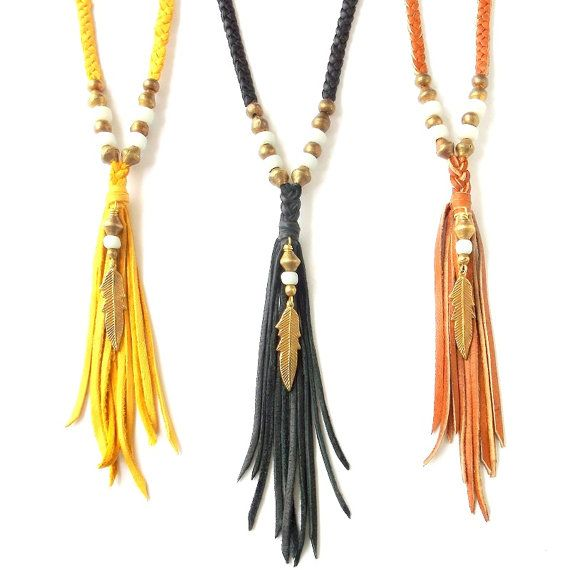 Boho Jewelry Gypsy Feather Necklace Deerskin Leather Fringe Necklace w/ African Brass - Bohemian Jewelry Tribal Jewelry Ethnic - Extra Long on Etsy, $30.00