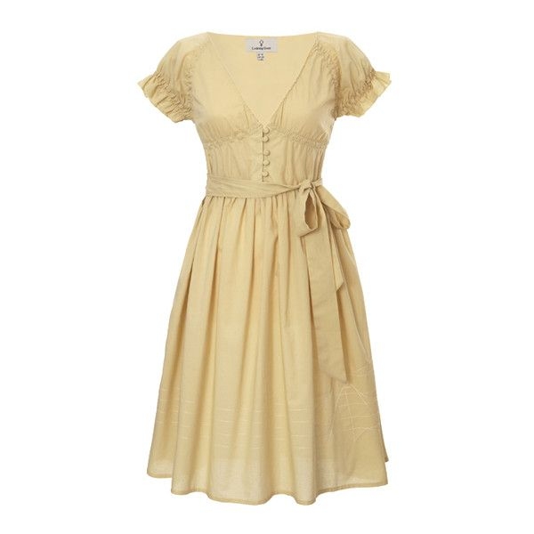 Buttercup dress ($66) ❤ liked on Polyvore featuring dresses, vestidos, vintage, vestiti, vintage day dress, beige dress, vintage beige dress and vintage dresses