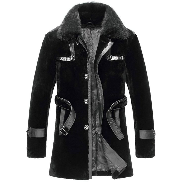 CWMALLS® Albuquerque Black Shearling Fur Coat CW851285 - Black shearling fur coat with mink fur collar for men, the leather trims and leather waist belt add more fashion and elegance to the coat, the polyester lining makes it more comfy to wear, let this wonderful fur coat accompany you to spend this chilly winter!