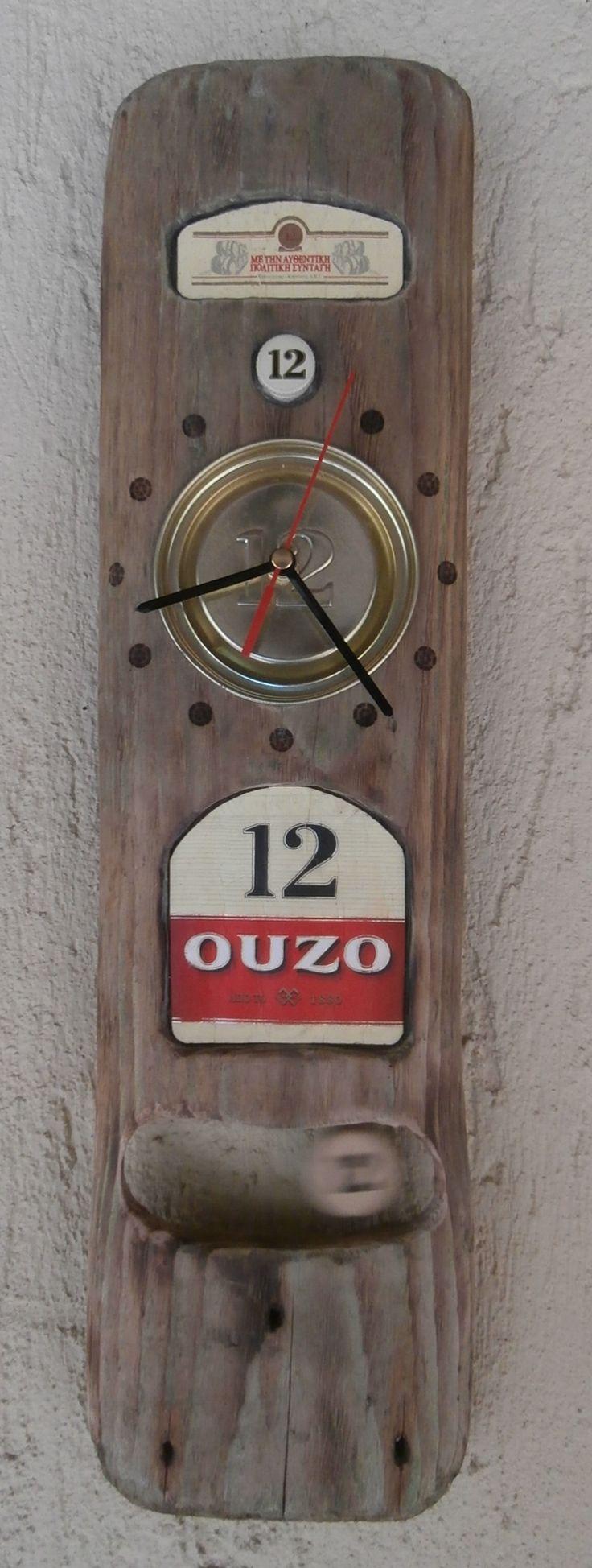 Driftwood 'Ouzo 12' Brand Clock