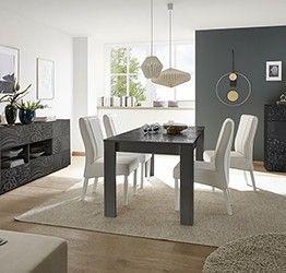 Sala completa di tavolo, 1 madia con 4 cassetti e 1 madia 2 ante, grigio serigrafato