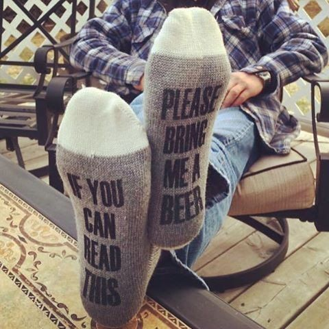 The perfect for any beer lover! Give as a gift, stocking stuffer or just for fun! 51% polyester, 30% acrylic 17% wool 1 % rubber 1 % spandex One Size fits men's size 8-12 For best results, hand wash a