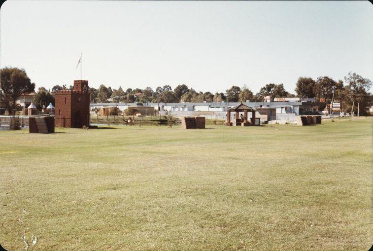 BA1530/6289: Children's playground and Dog Swamp Shopping Centre, Yokine, April 1981.  https://encore.slwa.wa.gov.au/iii/encore/record/C__Rb3987864