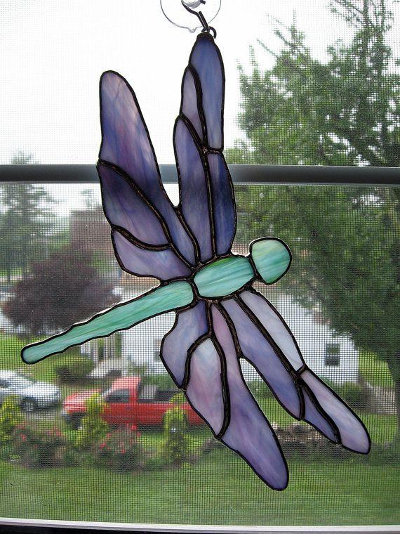 Libélula vidrieras Suncatcher jardín arte por StainedGlassYourWay