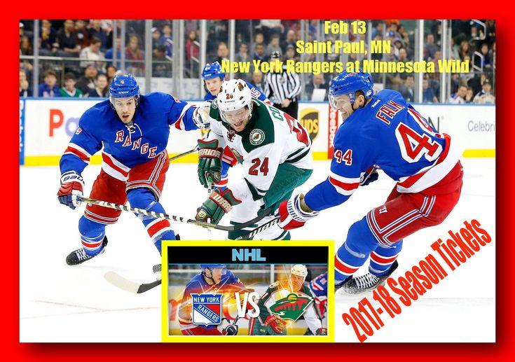 2017-18 Season Tickets,  Feb 13, New York Rangers at Minnesota Wild - - SeatGeek is hands down the easiest way to find and buy New York Rangers tickets all season long