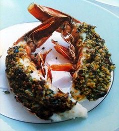 Ingredients - 4 x raw morton bay bugs halved and cleaned, 1 lemon halved, pistachio, preserved lemon, butter 80g (3 oz), butter softened ¼ cup finely chopped raw unsalted pistachio nuts, 1 ½ tablespoons finely chopped preserved lemon rind 1 tablespoon chopped flat-leaf parsley leaves, sea salt and cracked black pepper