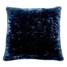 Midnight blue silk velvet cushion cover with pom poms