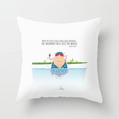Tifanny - Swimmer Throw Pillow by Michael Tjandra - $20.00
