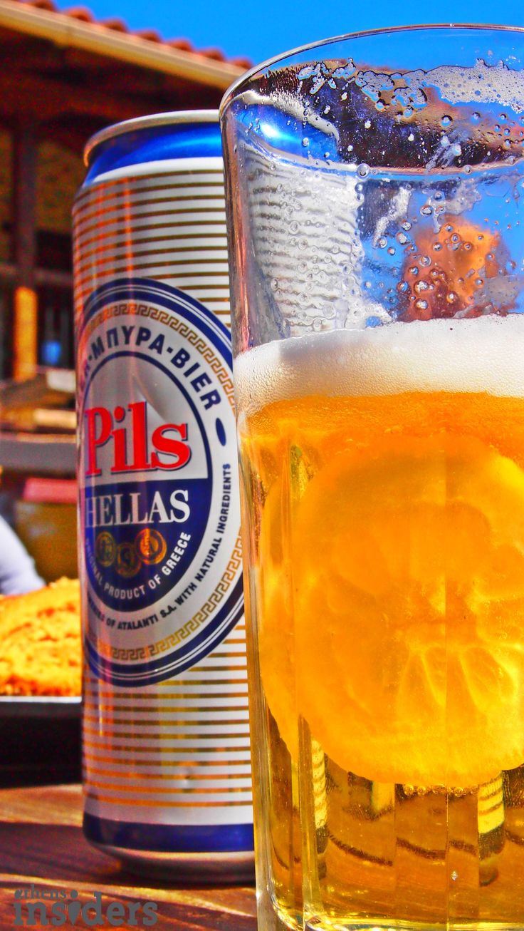 Cheers with a Greek beer